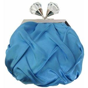NWT Sondra Roberts Pinched Satin Turquoise Bag